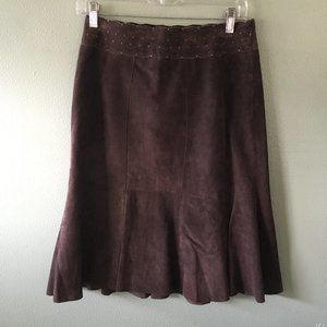 cabi suede leather a-line skirt style #380